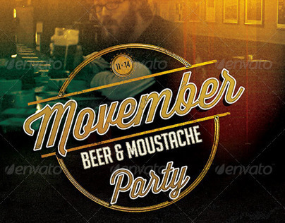 Movember Beer and Moustache Party Flyer Template
