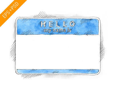 Free EPS+PSD Watercolor Blue Name Tag Hello My Name Is