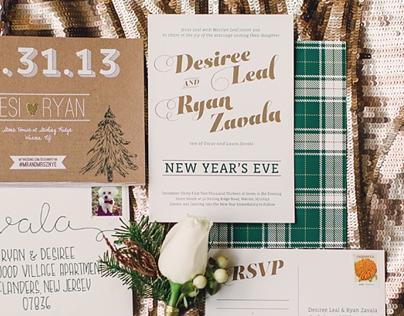rustic glam wedding invitation suite