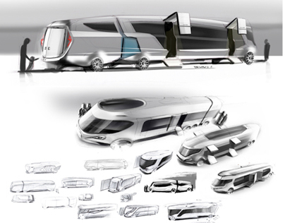 Setra bus sketches for EvoBus Ulm