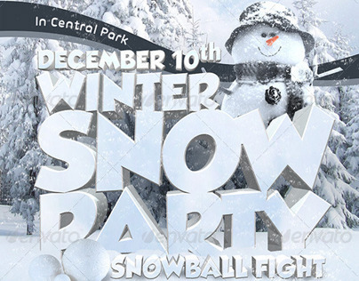 Winter Party Poster Print Template