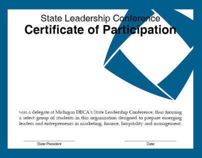 Michigan DECA SLC Participation Certificate