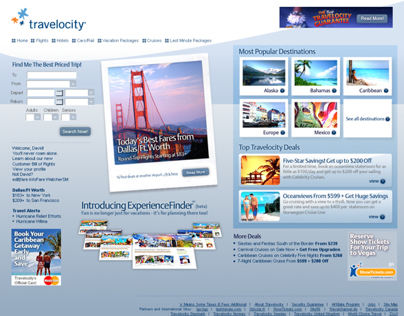 Travelocity Homepage Concepts
