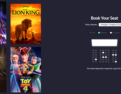 Super simple funny movie seat book application.
