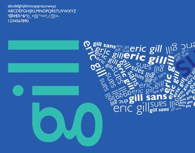 Afiche tipografico de la tipografia Gill Sans.