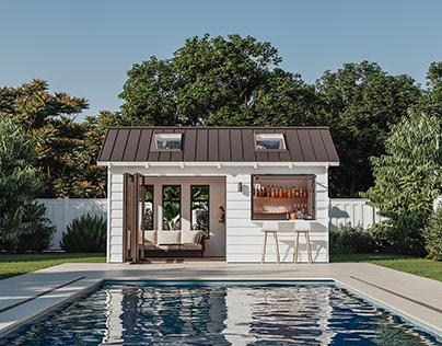 Pool bar backyard CGI