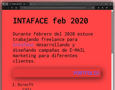 INTAFACE feb 2020 email's