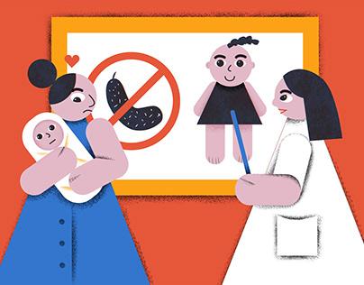 Иллюстрации к серии материалов про детей с ОМР