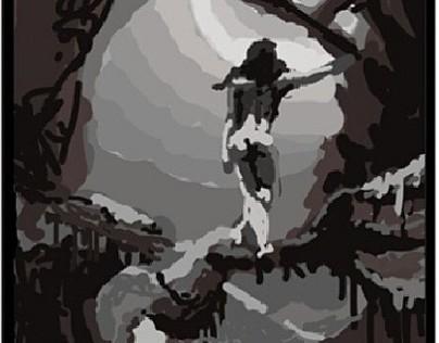 "Tonal study of Frazetta's ""Woman and the moon"" ."