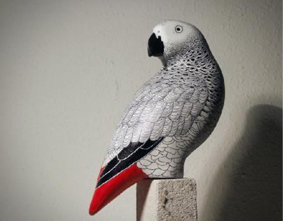 Grey Parrot Sculpture