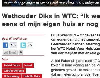 Brand Leeuwarden - Website Huis aan Huis - Oktober 2013