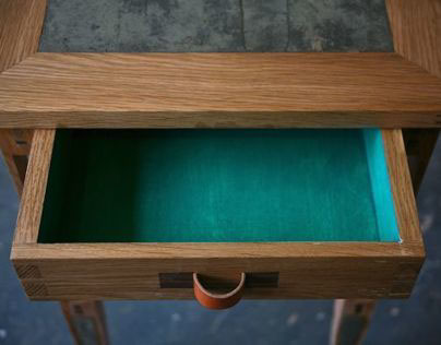 Crutch Occasional Table (with small green drawer)