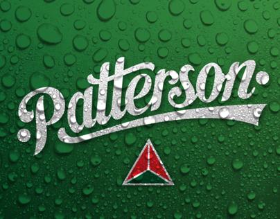 Patterson, lettering & beer, branding & render