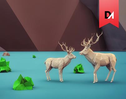 beautiful life - 3D low Polygon art