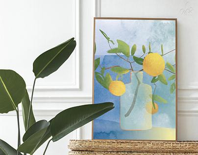 Watercolor printable poster lemons 2022
