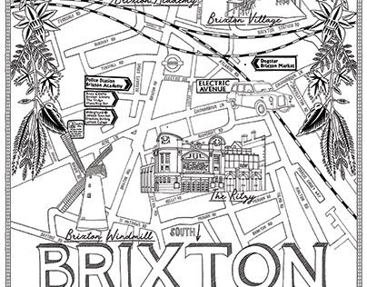 Brixton Hand Drawn Pen Map