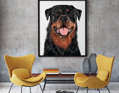 Pet portrait from photo. Rotveiler.