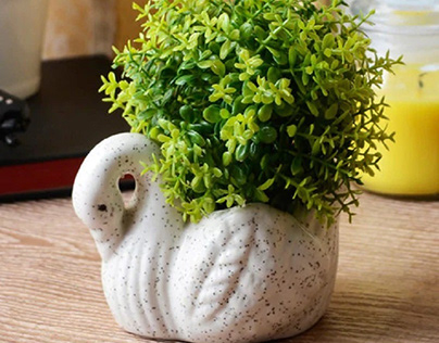 White Ceramic Mini Duck Pot