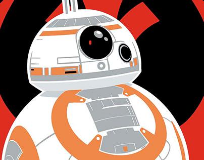Art-Nouveau style Star Wars art featuring BB-8