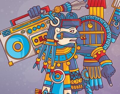 Tezcatlipoca vs Hip Hop on Adobe Illustrator on iPad