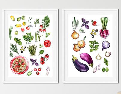 Food watercolor. Vegetables