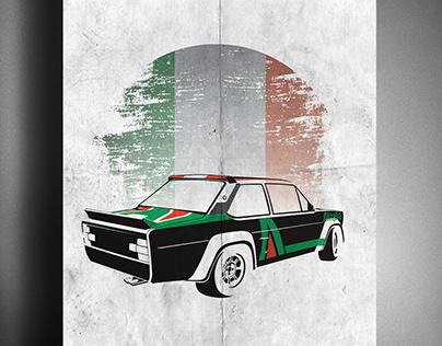 """Fiat 131 Abarth """"Alitalia"""" Rally Car - Vector Art"""