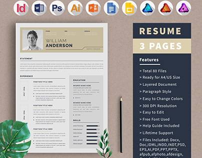 Resume Template | CV Design | 3 Page
