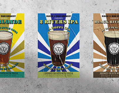 Craft brewery set of movie style beer posters