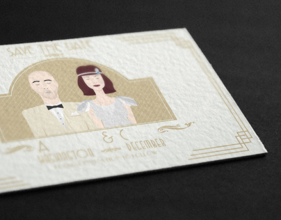 The Roaring 20s   Save the Date {illustration + design}