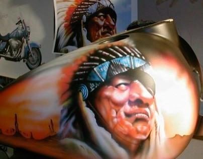 Airbrush custom paint on HD Road King Indian theme