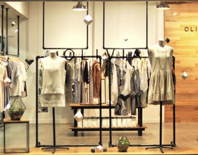 Olivia, fashion retail interior/ window display