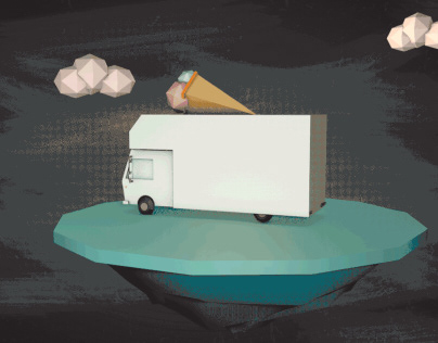 Low poly 3D Food truck