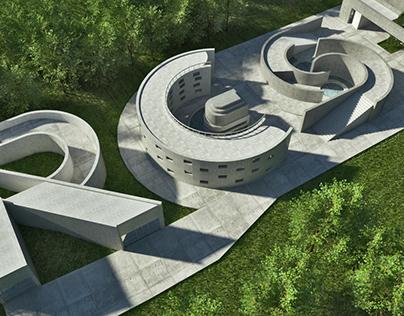 Resiliencia Studio en 3D version concreto y vegetacio