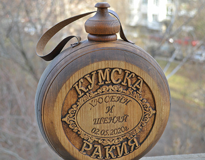 Wooden wedding apricot flask _Option 1