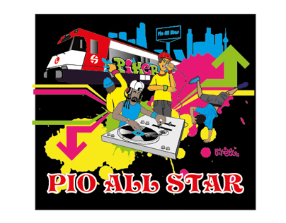 Design for T-shirt&tobacco bag by piker. Pio all star