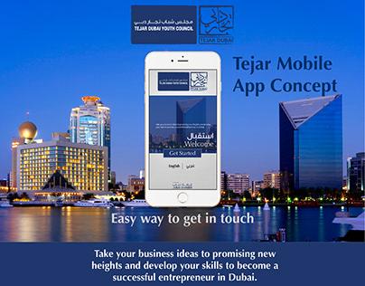 Tejar Dubai Youth Council - Mobile App Concept