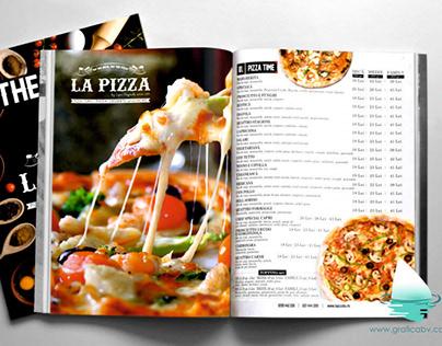 La Pizza restaurant menu design.