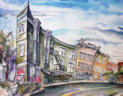 Mass Ave - Indy ink painting