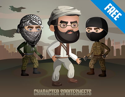 Free 2D Game Terrorists Character