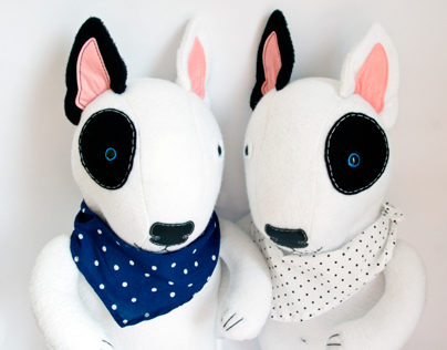 Bull Terrier, soft art toy