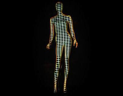 Video mapping on a female dummy