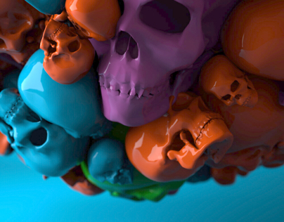 Spooky ci colored skulls