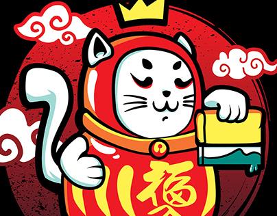 Cat Daruma illustration