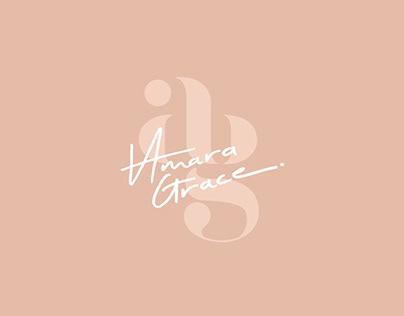 Amara Grace branding design, custom scarf illustration