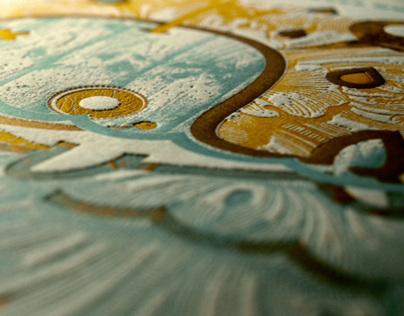Enamored Whale Letterpress Print