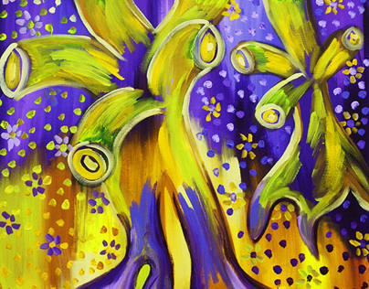 Violet And Yellow Abstraction
