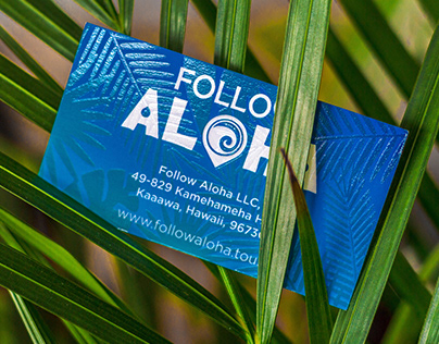 Follow Aloha Travel Agency business cards