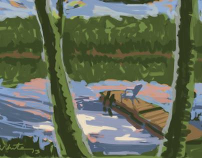 Indian Lake digital paintings