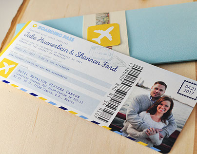 Destination Flight Ticket Invitations