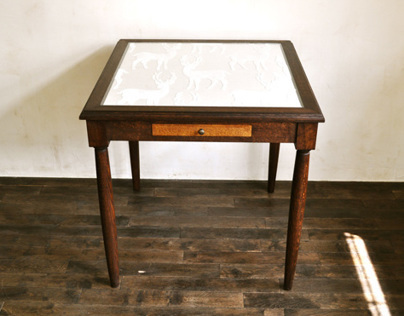 glass top fabric table